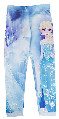 Girls Disney Frozen Leggings Elsa Skinny Summer Trousers Elasticated Pants Kids