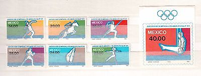 Mexico 1984 #1351/57 Set Of 6 Stamps + 1 S/s Mint Nh, Summer Olympics !!