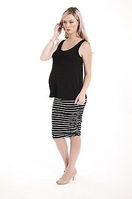 BNWT Bamboo Body Ruched Skirt Sz M (12) Black/White Stripe suit maternity dress