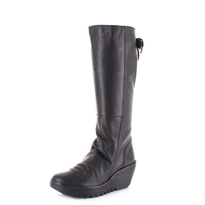 3eef630576b3 Womens Fly London Yust Mousse Black Leather Knee High Wedge Heel Boots Size