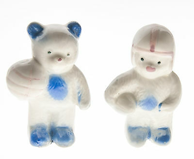 "Ceramic Figurines Vintage Miniature Sports Bears Made in China 2 3/4"" Set of 2"