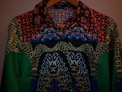 Vintage Size Xxl Womens Bright Silk Shirt In Excellent Condition