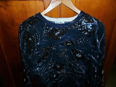 VINTAGE 1980s GREY BEADED BAT WING TOP SMALL EXCELLENT CONDITION