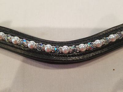 """16"""" Blk. Leather U-Browband w/ XL Loops for Dbl. Bridle w/ White & Clear Beads"""