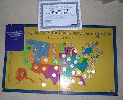 State Quarter Complete Set Gold Plated Quarters - First state quarters of the us collectors map