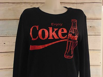 Black Thermal Red Graphic Enjoy Coca Cola Coke Long Sleeve Top  XXL 19 Junior
