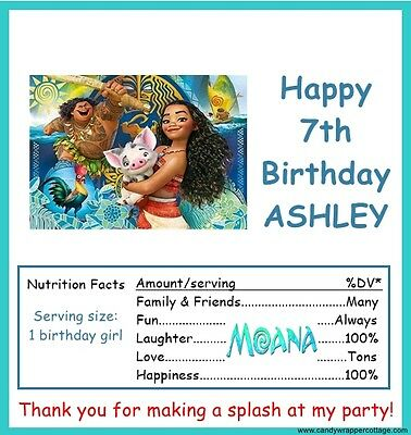20 MOANA Birthday Party Personalized CANDY WRAPPERS Favors