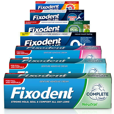 Fixodent Plus Denture Adhesive Creams Full or Partial Dentures - Pack of 3 & 6