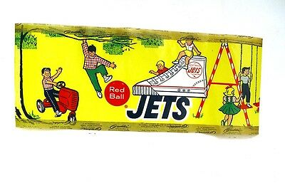 """ORIGINAL 6 x 14"""" COLORFUL RED BALL JETS  KIDS HIGH TOP SHOES ADVERTISING SIGN"""