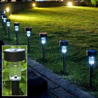 10 Pack - Rechargeable Solar Led Garden Post Pathway Lights For Outdoor Lighting