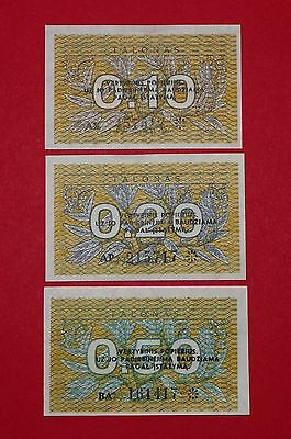 Lithuania 1991 0.10, 0.20, 0.50 Talonas - uncirculated set