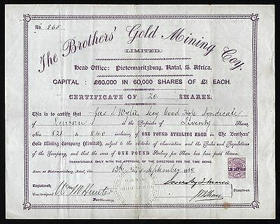 1889 Pietermaritzburg, Natal, South Africa: The Brothers' Gold Mining Company