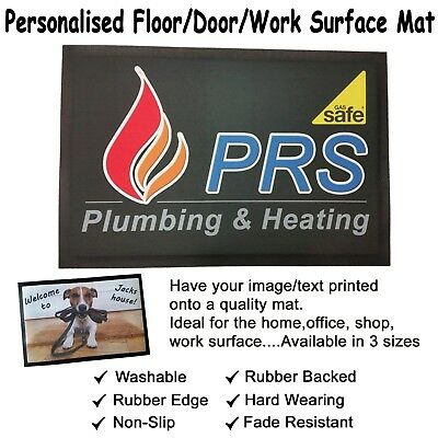 Personalised Floor / Door / Work Surface Mat. Rubber Backed Non Slip. In 3 Sizes