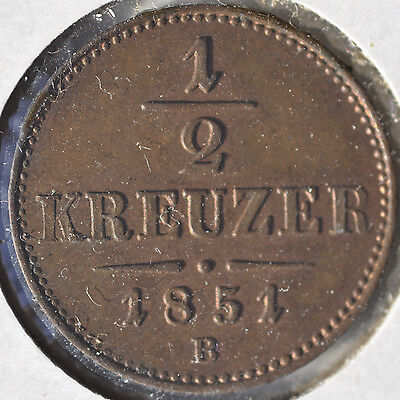 1851 B 1/2 Kreuzer Austria Copper World Coin Uncirculated