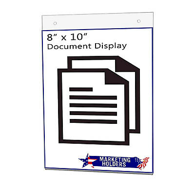 "Sign Holder Ad Frame 8""W x 10""H Vertical Wall Mount with Mounting Holes"
