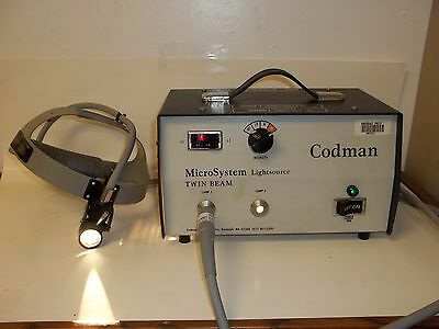 Codman Surgical Microsystem Twin Beam Light Source, W/ Fiber Optic Headlamp Fs