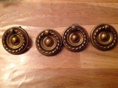 Antique Brass Drawer Or Cupboard Handles Set Of Four 55Mm Diameter