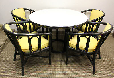 McGuire of San Francisco Round Bamboo Rattan Black and White Dining Table