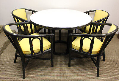 McGuire of San Francisco Round Bamboo Rattan Dining Table/Patio Table/Kitchen