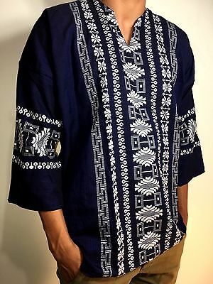 Mens Guayabera Shirt Cotton Mexico Casual Embroidered White Ivory Black Navy Blu
