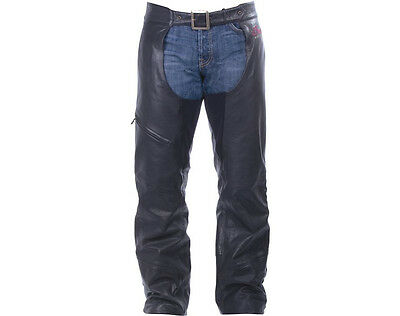 Indian Logo Mens Black Leather Riding Chaps
