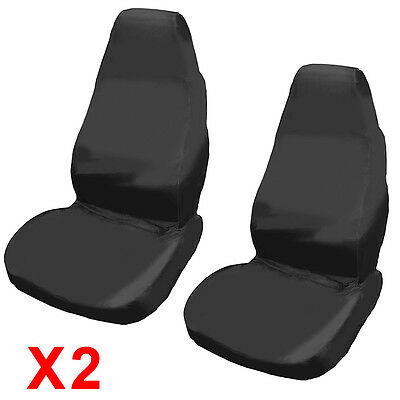 2x UNIVERSAL WATERPROOF BLACK FRONT SEAT COVERS/PROTECTORS FOR CAR/VAN SEATS