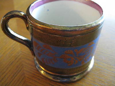 "Antique Copper Luster Blue Band Staffordshire Mug Cup 2-5/8"" Tall"