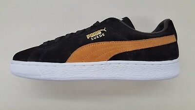 huge selection of a0e68 1a557 PUMA SUEDE CLASSIC + Black Inca Gold White Mens Size Sneakers 363242-26