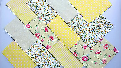 "30 x MELLOW YELLOW 5"" FABRIC PATCHWORK SQUARES PIECES CHARM PACK"