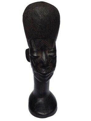 Ebony Wood Hand Carved Head By Makonde, Tanzania