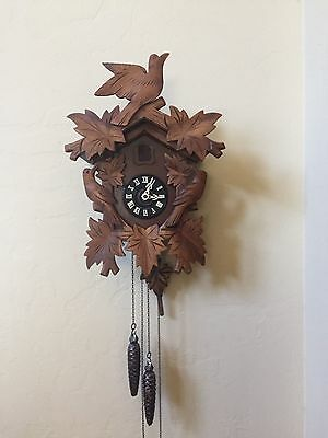 Antique 3 Bird Black Forest Carved Cuckoo Clock West Germany RUNS