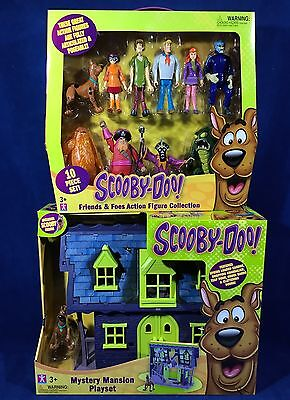 Scooby Doo FRIENDS & FOES 10 Action Figures + MYSTERY MANSION PLAYSET 5 Villians