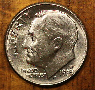 1983 D Roosevelt Dime Ch BU US Coin FREE SHIPPING