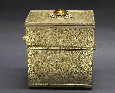 Vintage Metal Jeweld Box Hinged Dresser Jewelry Trinket Box