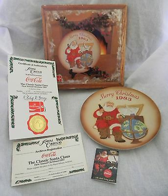 Vintage 1983 Coca Cola Classic Santa Claus 1st Annual Collector's Plate with COA