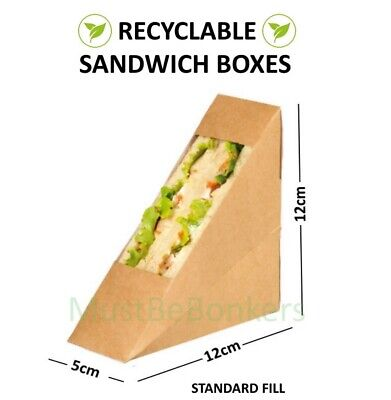 500 Kraft Carton sandwich support wedges~café à emporter paquets ~ standard
