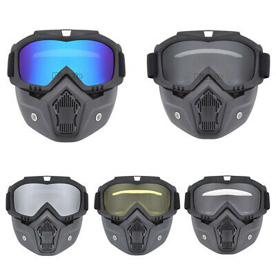 Modular Motorcycle Bike Riding Helmet Open Face Mask Shield Goggles Detachable
