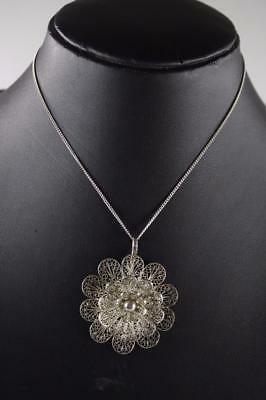 Vintage Chinese Sterling Silver Filigree Floral Pendant Necklace