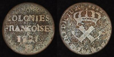 US COLONIAL (FRANCE) - 1721-H 9 Deniers - Louis XV - Listed in Redbook - Rare!