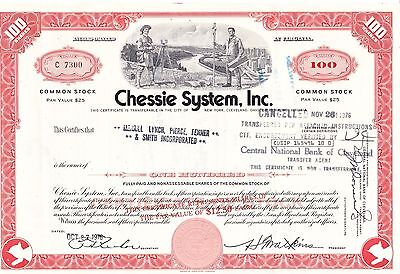 Chessie System, Inc. 1976 Railroad Stock Certificate 100 Shares C 7300