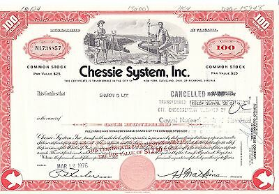 Chessie System, Inc. 1976 Railroad Stock Certificate 100 Shares N1738857 - S LEE