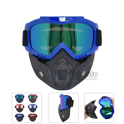 Riding Detachable Modular Face Mask Shield Goggles For Motorcycle Helmet Eyewear