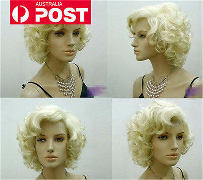 Marilyn Monroe New Sexy Women Short Blonde Curly Wavy Cosplay Hair Full Wig Wigs