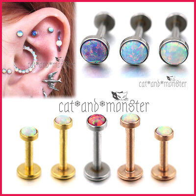 Opal Stud Thread Ring Bar Earrings Labret Lip Ear Nose Helix Tragus Piercing NEW