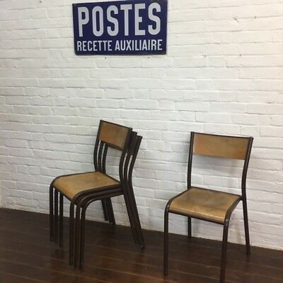 Industrial Vintage Mullca Wooden Stacking French School Cafe Restaurant Chair