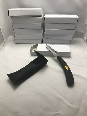 Lot of 12 Folding Pocket Knives w/ Stainless Blade & Black rubber handle