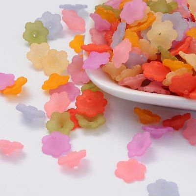 100pcs Mixed Colour Acrylic Transparent Frosted Flower Bead Caps Crafts 12x4.5mm