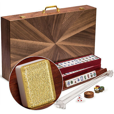 """YMI American Mahjong Set, """"Golden Fortune"""" with Inlaid Wooden Case"""