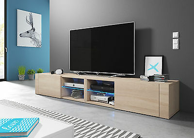 new products d9c10 61360 OAK TV UNIT BEST 200cm TV STAND Tv Lowboard Cabinet Free Led Uk Plug  Cupboard