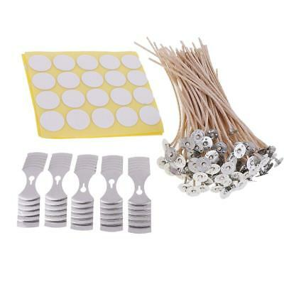 """100pcs 8"""" Pre Waxed Wicks with Sustainers&100 Wick Stickers&5pcs Wick Holder"""